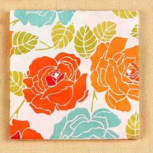 Orange & Blue Flowers Decoupage Napkin