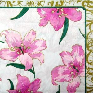 Tropical Pink Hibiscus Flowers Decoupage Napkin