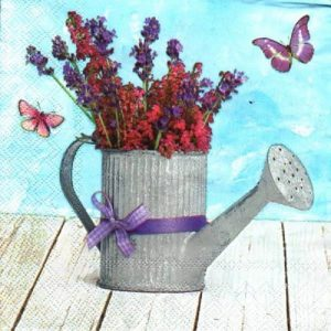Water Can with Flower Decoupage Napkin