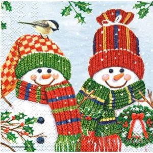 Mrs & Mr. Snowman Decoupage Napkin