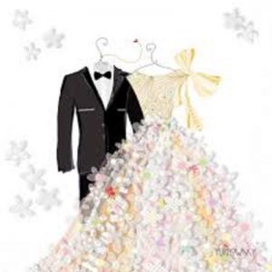 Bride & Groom Wedding Wear Decoupage Napkin