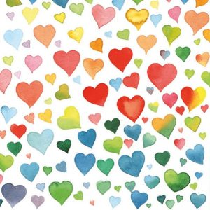Rainbow Colour Hearts Decoupage Napkin
