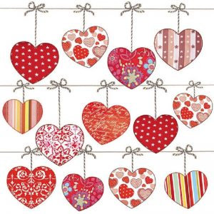 Hearts In Line Decoupage Napkin