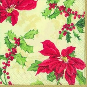 Chirstmas Berries & Poinsettias Decoupage Napkin