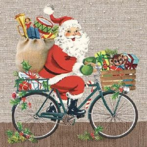 Santa On A Bike Decoupage Napkin