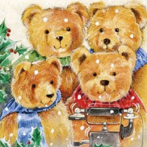 The Teddy Family  Decoupage Napkin