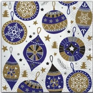 Purple & Gold Christmas Baubles Decoupage Napkin