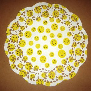 Smile Faces Printed Round Paper Doilies