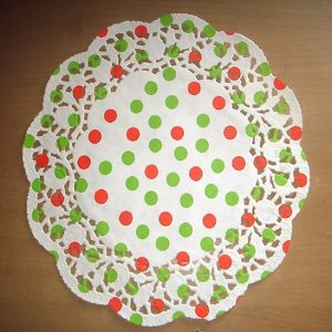 Green & Red Polka Dots Printed Round Paper Doilies