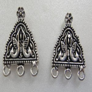 Peacock Pattern German Silver Earring Studs