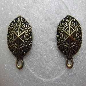 Antique Bronze Hexagon Shape Earrings