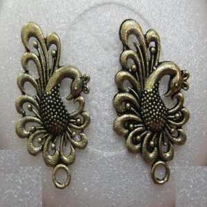 Antique Bronze Big Peacock Earrings