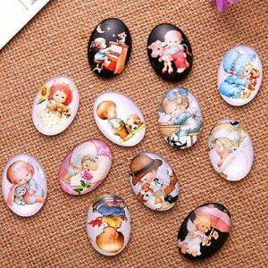Sweet Babies Oval Glass Cabochon