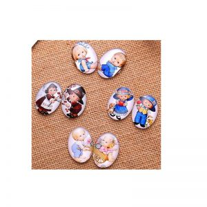 Little Boys & Little Girls Oval Glass Cabochon