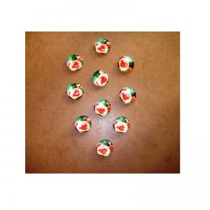 Orange Rose Flower Glass Cabochons