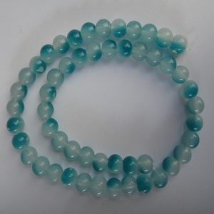 Turquoise Blue & White Double Shade Glass Beads