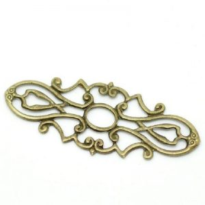 Alloy Antique Bronze Oval Flower Hollow Pattern