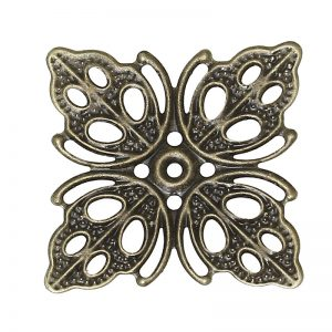 Alloy Antique Bronze Square Flower Hollow Pattern