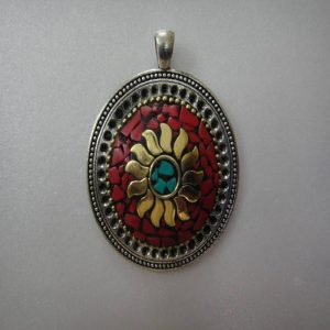 Green, Red Stone & Brass Embedded Round Pendant with Kashmiri Lac Work