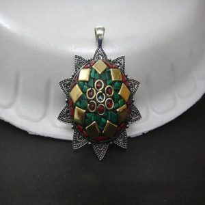 Green, Red Stone & Brass Embedded Round Pendant  Kashmiri Lac Work