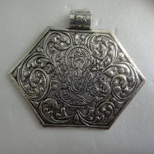 German Silver Hexagon Shape With Ganesh Pendant
