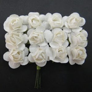 Small Plain Paper Flowers White