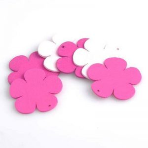 Pink & White Combo Wooden Flatback Flowers