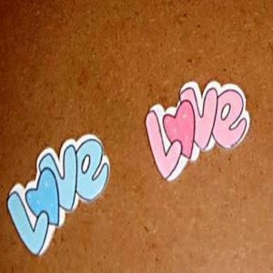 "Blue & Pink Wooden ""LOVE"" Embellishment"