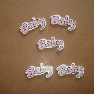 Wooden Pink Baby Embellishment
