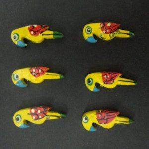 Lemon Yellow Painted Wooden Parrot Bead