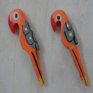 Orange Painted Wooden Parrot Bead
