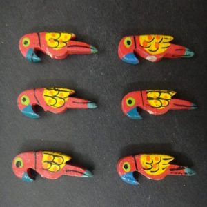 Red Painted Wooden Parrot Bead