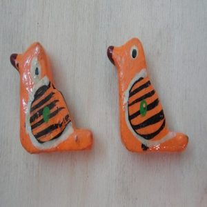 Orange Painted Wooden Sparrow Beads