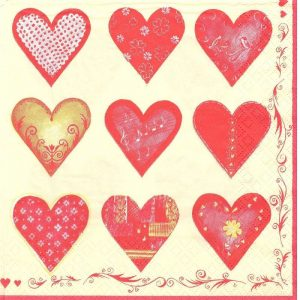 Printed Red Hearts Decoupage Napkin