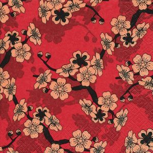 Asian Flowers Decoupage Napkin