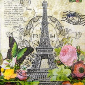 Paris Eiffel Tower, Rose & Butterfly Decoupage Napkin