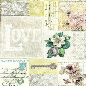Key to Love Decoupage Napkin