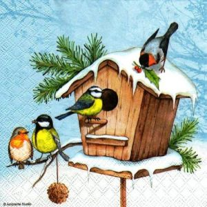 Birdhouse In Snow Decoupage Napkin