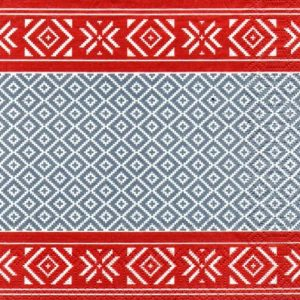 Grey & Red Geometric Pattern Decoupage Napkin