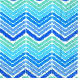 Shades of Blue Ikat/Chevron Decoupage Napkin
