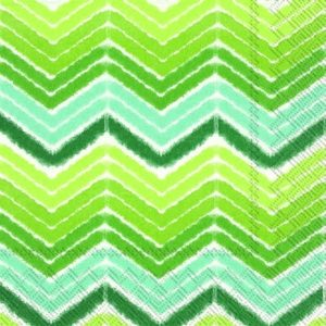 Shades of Green Ikat/Chevron Decoupage Napkin