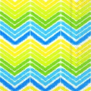 Shades of Yellow Blue Ikat/Chevron Decoupage Napkin