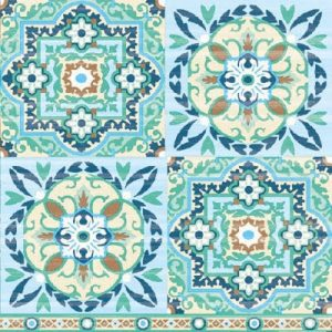 Tiles Green Decoupage Napkin