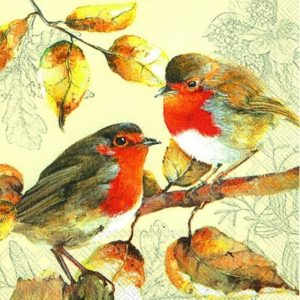 Red Robins Decoupage Napkin