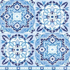 Tiles Blue Decoupage Napkin