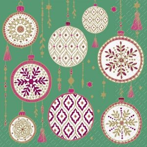 Christmas Baubles In A Teal Background  Decoupage Napkin