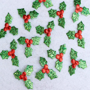 Christmas Shiny Red Berries and Holly Leaves Applique