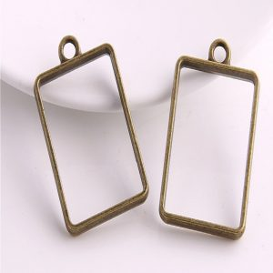 Antique Bronze Rectangle Pendant Blank Frame