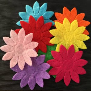 Mixed Colour Felt Flowers