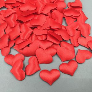 Red Colour Satin Heart Appliques